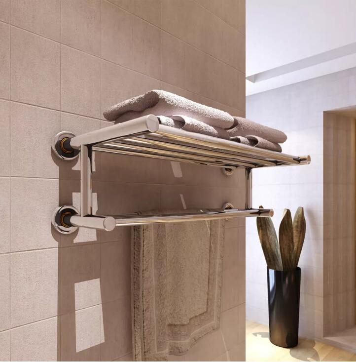 VidaXL 6 Tubes Bathroom Towel Holder Bathroom Organizer Stainless Steel Wall-mounted Towel Rack Home Hotel Wall Shelf
