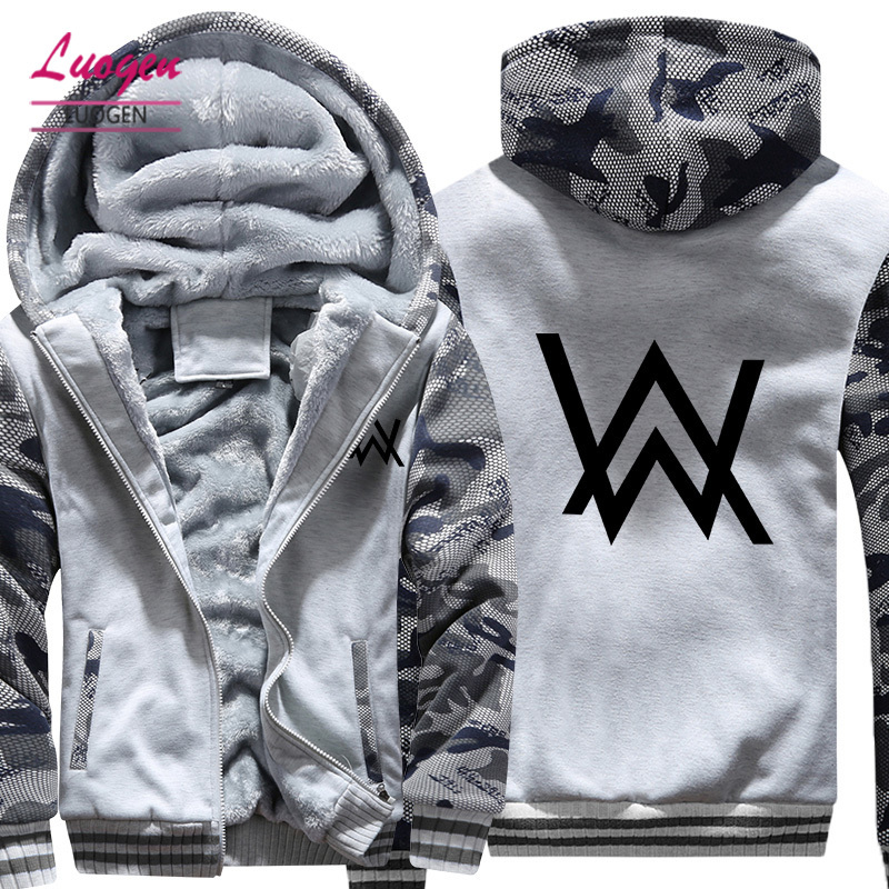 Luogen Rock Alan Walker font b Men s b font Hoodies Sweatshirts Thicken Hoody Coats Men