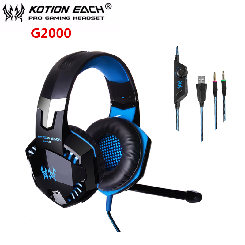 2019 NEW! KOTION EACH G2000 Gaming Headset Stereo Sound 2.2m Wired Headphone Noise Reduction with Microphone for PC Game