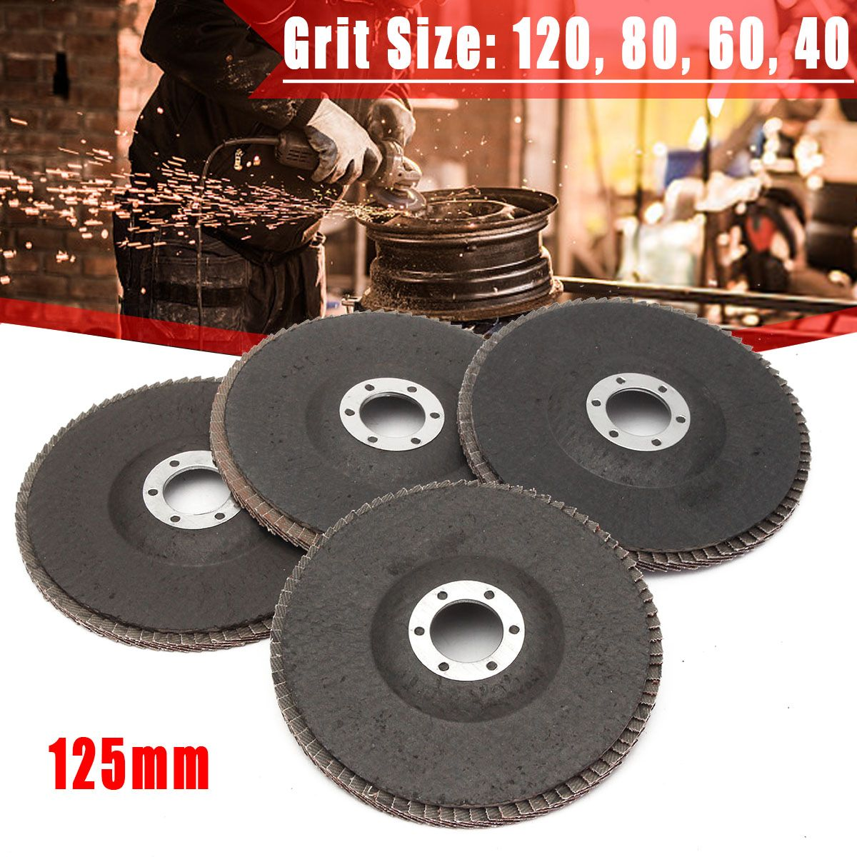13000 Rpm Aluminum Oxide Abrasive Tools 40/60/80/120 Grit Grinding Wheel Flap Disc 125mm 5 Inch Angle Grinder Sanding Tool