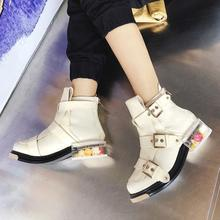 2019 Winter Women Ankle Boots Buckle Strap Chelsea Booties Round Toe Flower Heel Boots Lady Runaway Shoes