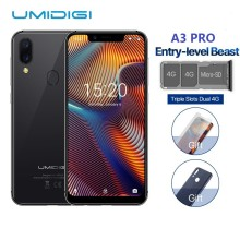 UMIDIGI A3 Pro Глобальный Band 5,7 «19:9 весь смартфон 3 GB + 32 GB Quad core Android 8,1 12MP + 5MP Face Unlock двойной 4G В наличии
