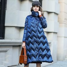 e7b84a7765eb Blue Fashion Winter Jacket Coat Women Casual Long Section Loose 90% White  Duck Down Jacket