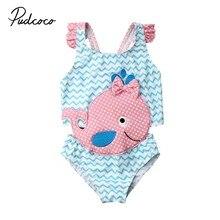 Брендовый милый детский купальный костюм для маленьких девочек, сдельная пляжная одежда для малышей, купальный костюм с оборками в виде золотых рыбок и Кита