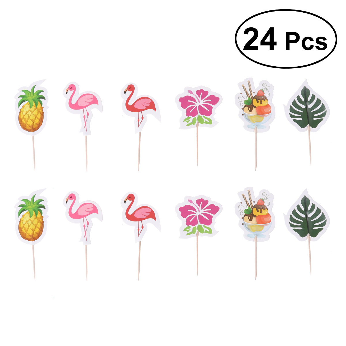 12 pcs set Pineapple Cupcake Fruit Picks Birthday Hawaii Party Cake Toppers Luau