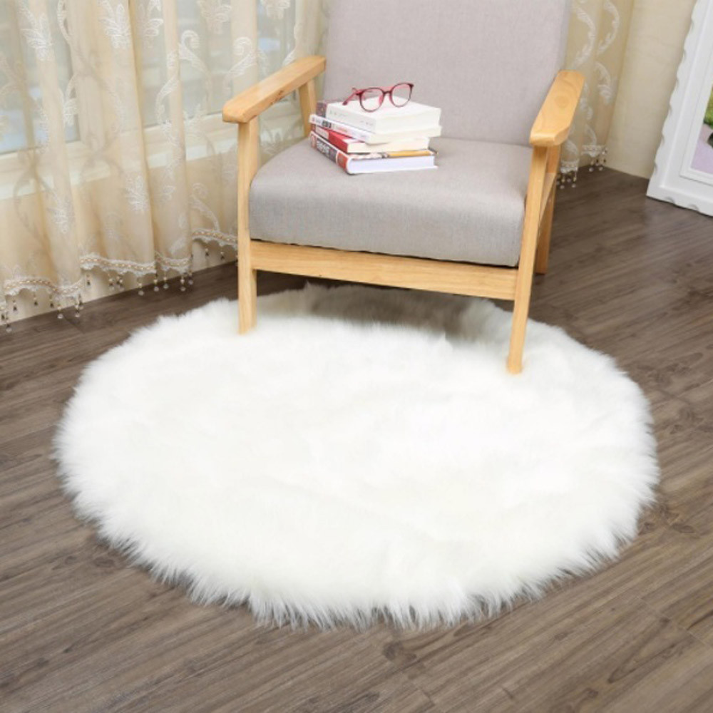 US $3.32 15% OFF Luxury Round White/Gray Faux Fur Area Rug Carpet Bedroom  Warm Mat Blanket Soft-in Figurines & Miniatures from Home & Garden on ...