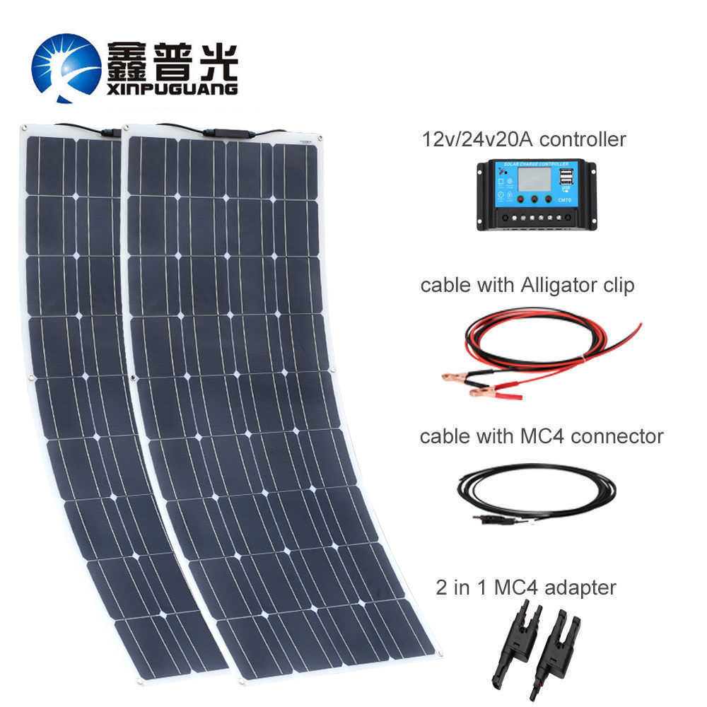 200W 18V 100W Solar Panel Flexible Solar Panel Monocrystalline 36 Cell Module Efficient Cable Battery RV Yacht Car Home Charger