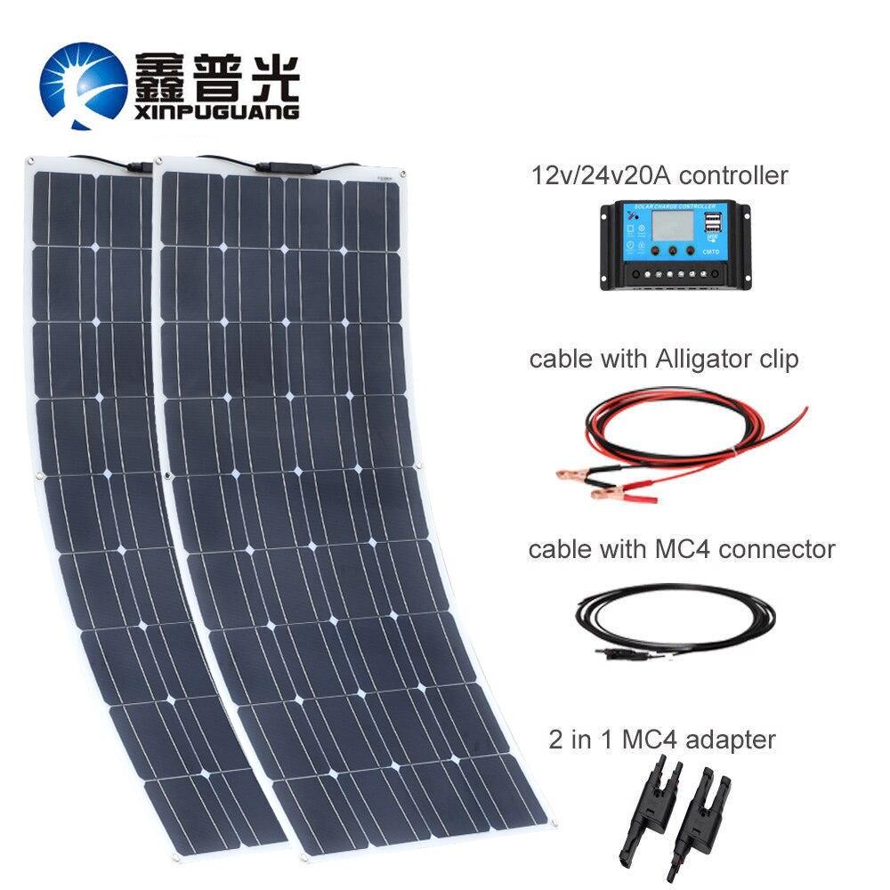 200 W 18 V 100 W Panneau Solaire Flexible Panneau Solaire Cellule Monocristallin Module Efficace Câble Batterie RV Yacht Voiture chargeur à la maison
