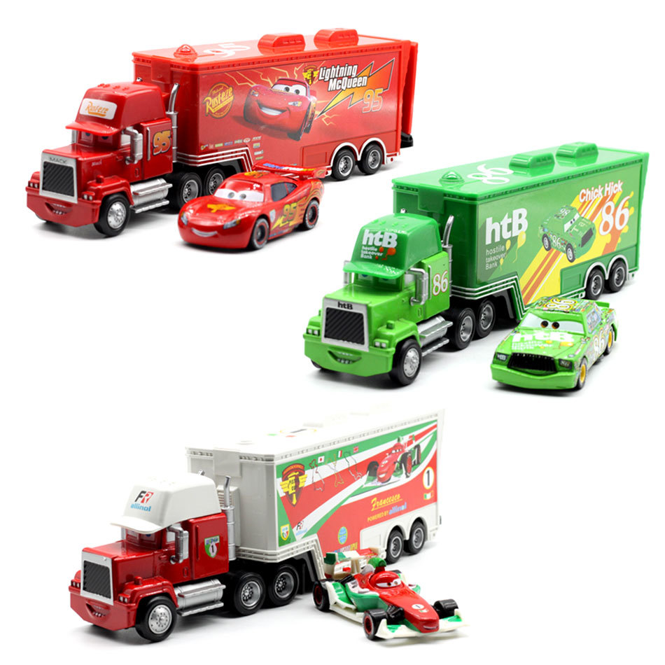 Disney Pixar Cars Mack Truck Mcqueen Chick Hicks Uncle 1:55 Diecast Metal Alloy Plastic Modle Toys Car Gifts For Children