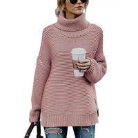 Новая мода для женщин трикотажные черепаха средства ухода за кожей Шеи Длинные ни повседневное с длинным рукавом сплошной пуловер сво