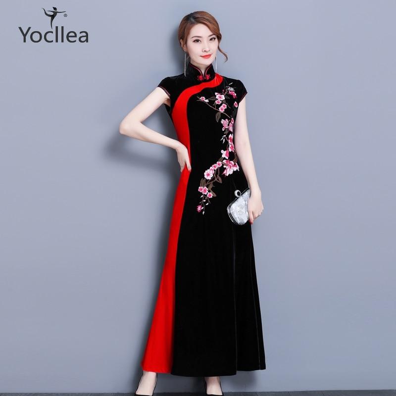 Velvet Qipao Dress women New 2018 Spring vintage Chinese Style Red edge Dovetail dresses elegant Banquet
