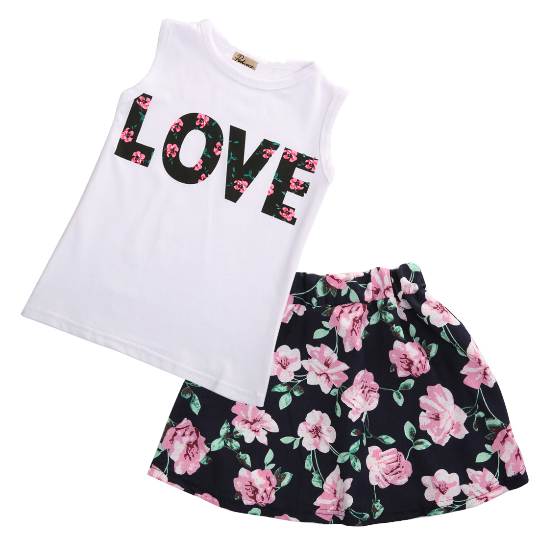 Emmababy Flower Girs Clothing Age 2-7Y baby girls clothes set 2pcs/set love sleeveless T-shirts+print mini skirts Outfits Set