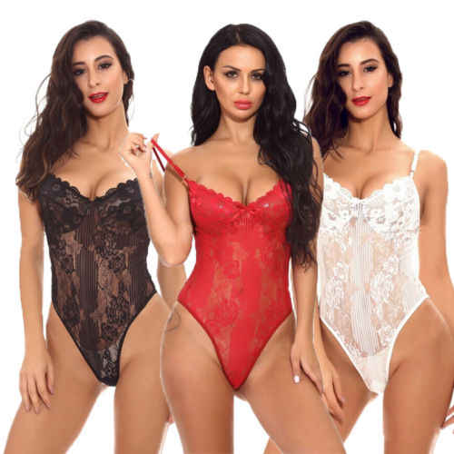 Sexy Lace Lingerie Dress Babydoll Lingerie Nightwear Underwear Women Body Stocking Sleepwear Bodysuit Black Red Dress