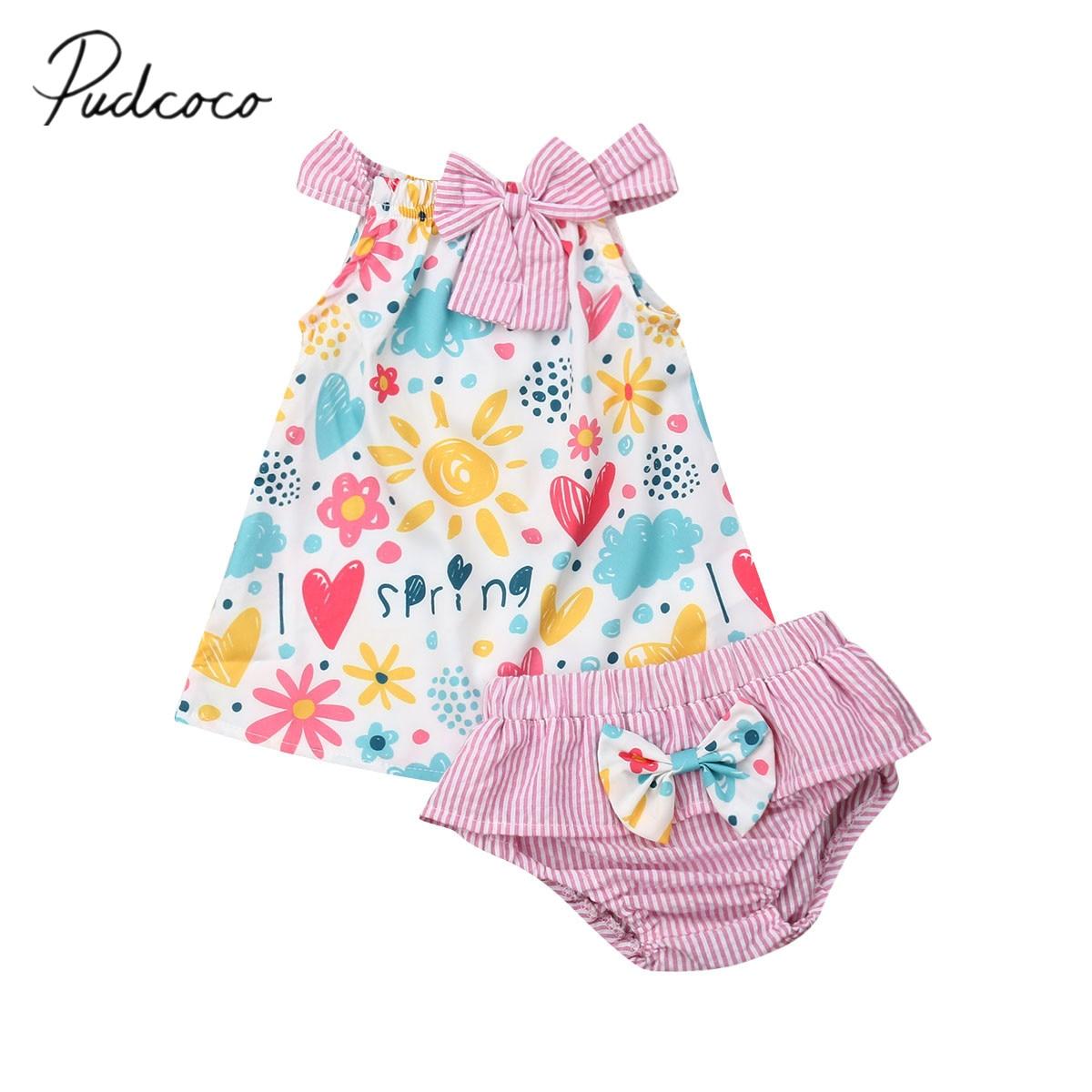 2019 nova marca infantil verão 2 pçs roupas recém-nascidos da criança do bebê meninas floral outfits algodão topos vestido + pp listrado shorts conjuntos