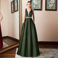 Emerald Green Prom Dress Woman Elegant A Line V Neck Backless Long Formal Party Gowns For Wedding Party Guest 2019 Vestido Baile