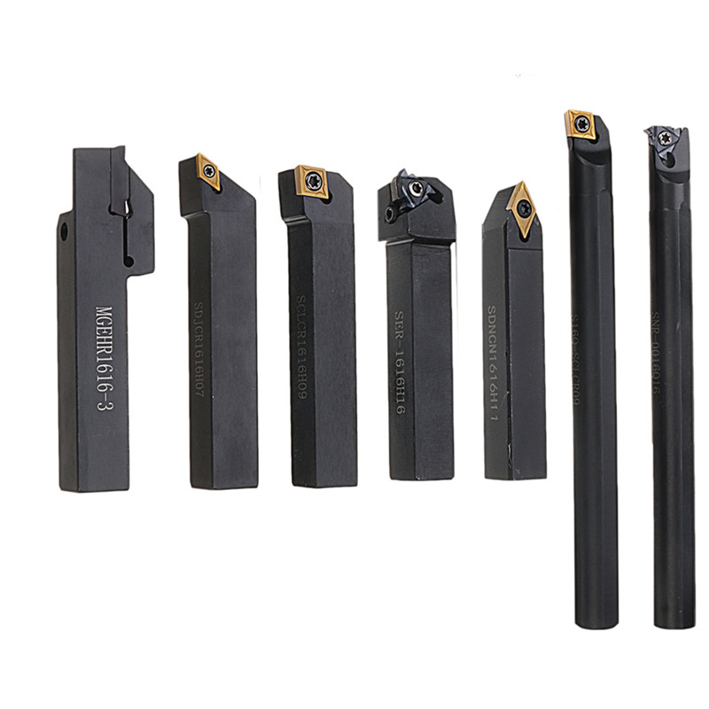7pcs 16mm Shank Lathe Turning Tool Holder Boring Bar CNC Tools Set With Carbide Inserts And