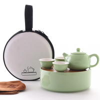 Japanese style ceramic travel tea set household simple portable bag Kungfu outdoor 1 pot 3 cups tea plate tray