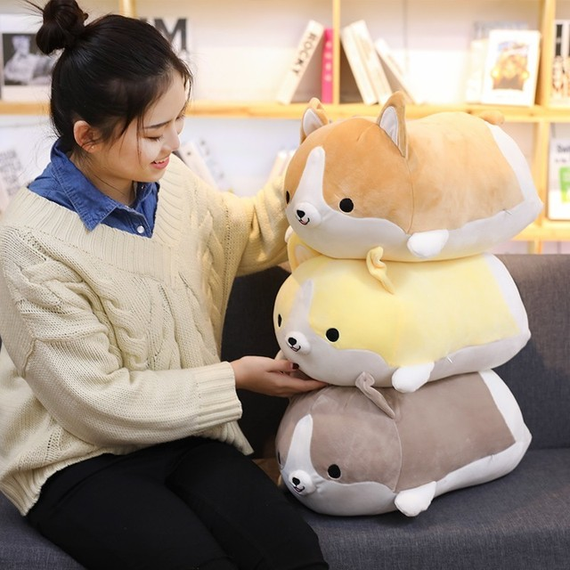 Squishy Corgi Plush Pillow Cute Corgi Dog Doll Pillow Shiba Plush Toy Holding Sleeping Doll Stuffed Animal Pillow Gift For Baby 2
