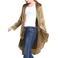 Autumn Women Velvet Outwear Chiffon Trim Cardigan Wrap Outwear Irregular Cardigan Lace Trench Coat