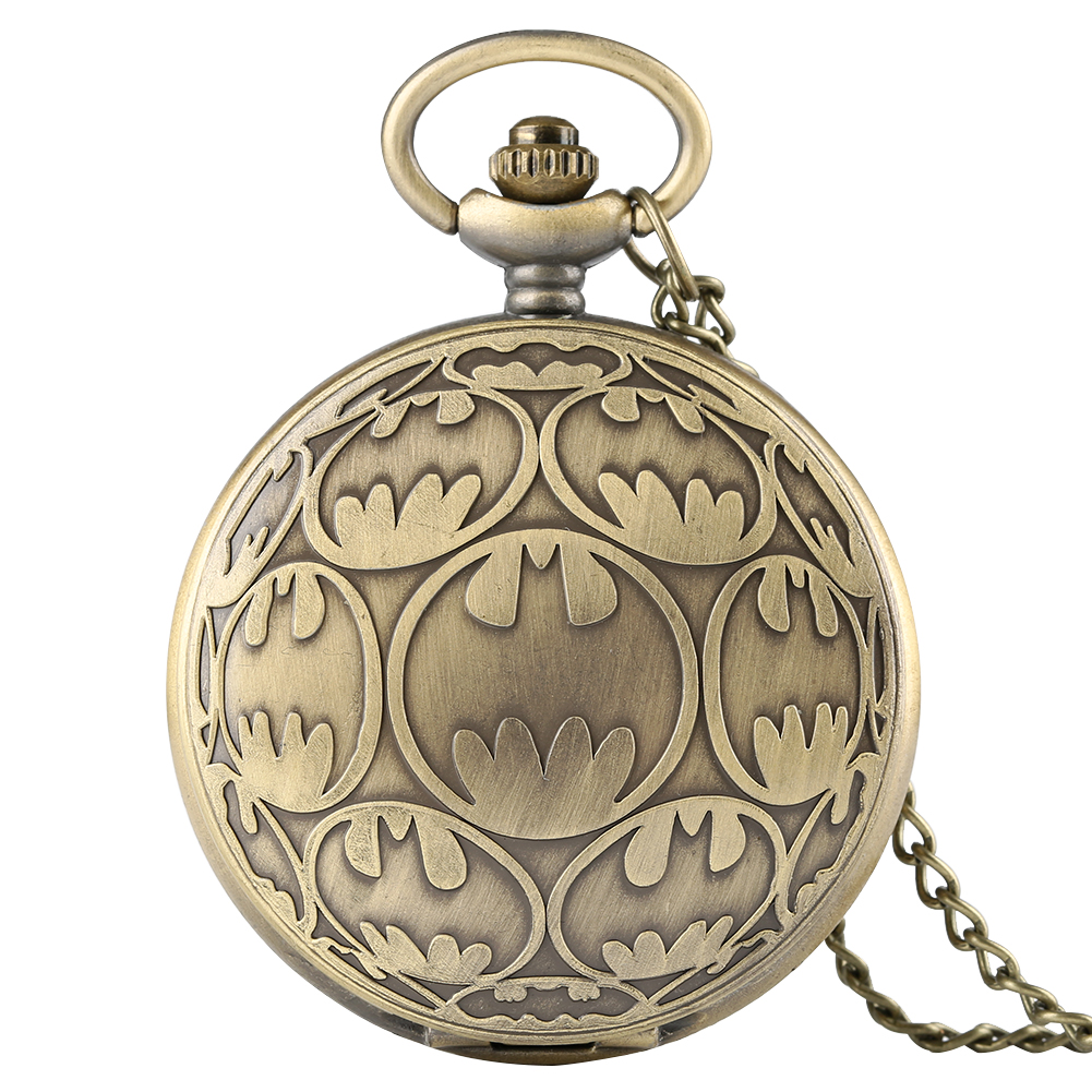 Bronze Batman Design Pocket Watch Full Hunter Case Watch Necklace Fob Chain Classic Superhero Movie Clock Hours Men Boys Gifts