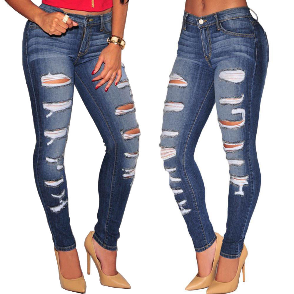 Hirigin Brand Hole Jeans 2019 New Hot Sale Womens Slim Skinny Ripped Destroyed Denim Jeans Stretch Denim Pant Jeggings Trouser