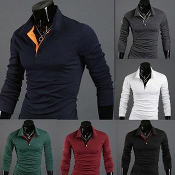 Hommes chemises t-shirt à manches longues décontracté hauts à la mode vêtements pour automne hiver homme chemises de grande taille XRQ88