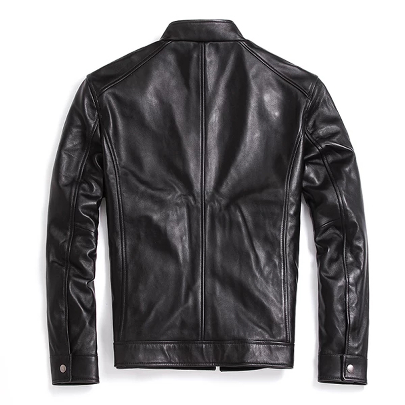 Herren Leder Jacken Stehkragen Klassischen Stil Hohe Qualität Echtes Leder Mäntel Frühling Herbst Beiläufige Männliche Leder Kleidung-in Echte Ledermäntel aus Herrenbekleidung bei  Gruppe 3