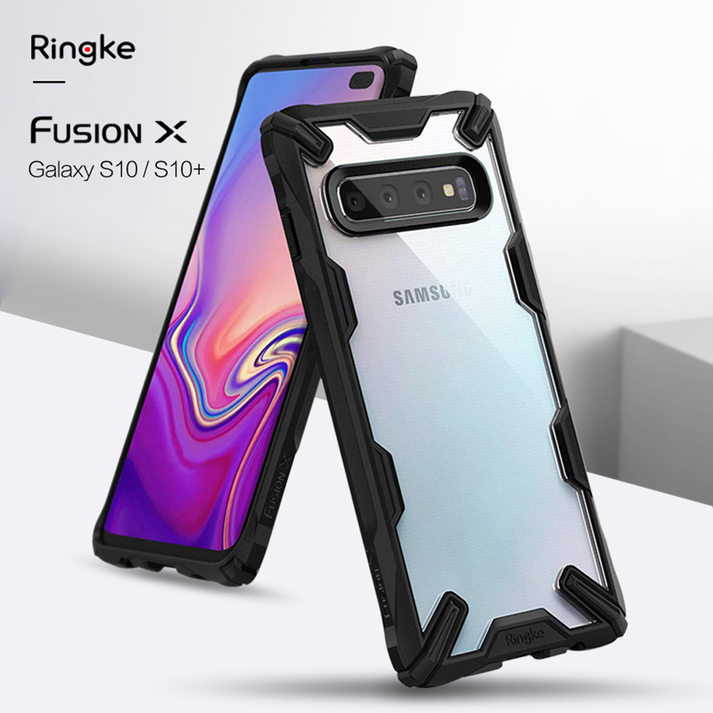 Ringke Fusion X for Galaxy S10 Plus Heavy Duty Shock Absorption Ergonomic Transparent Hard PC Back Soft TPU Frame Hybrid for Fitted Cases     - title=