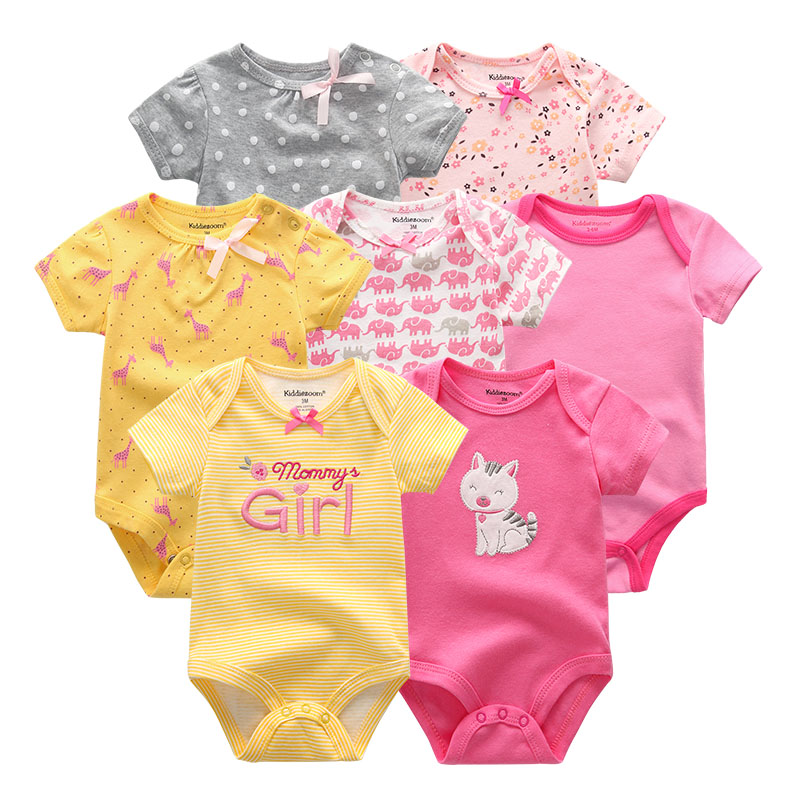 2019 7PCS/lot Newborn Baby Girl Clothes Baby Boy Clothes Cotton Unicorn Bodysuits Jumpsuit Ropa bebe Short Sleeve Black White 1