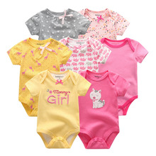 2019 7PCS/lot Newborn Baby Girl Clothes Baby Boy Clothes Cotton Unicorn Bodysuits Jumpsuit Ropa bebe Short Sleeve Black White