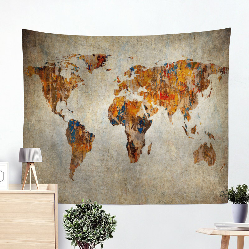 Painting World Map Tapestry Vintage Home Decor Voyager Hippie Wall Hanging Tapestries Beach Towel Yoga Mat Blanket Table Cloth