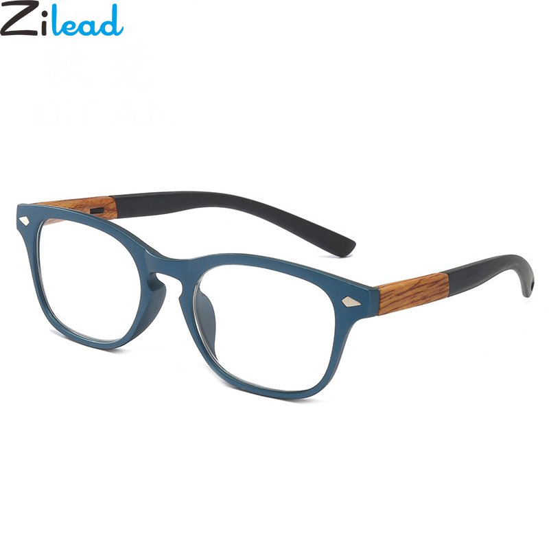 Zilead Square Imitation Wood Plastic Reading Glasse For Women&Men Magnifying Presbyopia Glasses With+1.0to+4.0 Unisex