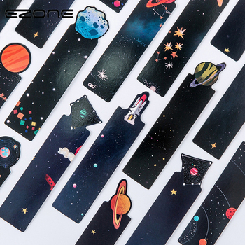 EZONE 30Pcs/Set Planet Bookmark Message Card Creative Constellation Bookmarks Book Holder School Office Stationery Supplies 30pcs set flowers bookmarks message cards book notes paper page holder for books school supplies accessories stationery