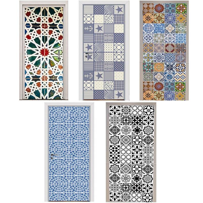 3D Door Stickers Kaleidoscope Mediterranean Style Color Black and White Tiles Mosaic Bedroom Wooden Door Home Decoration Paste