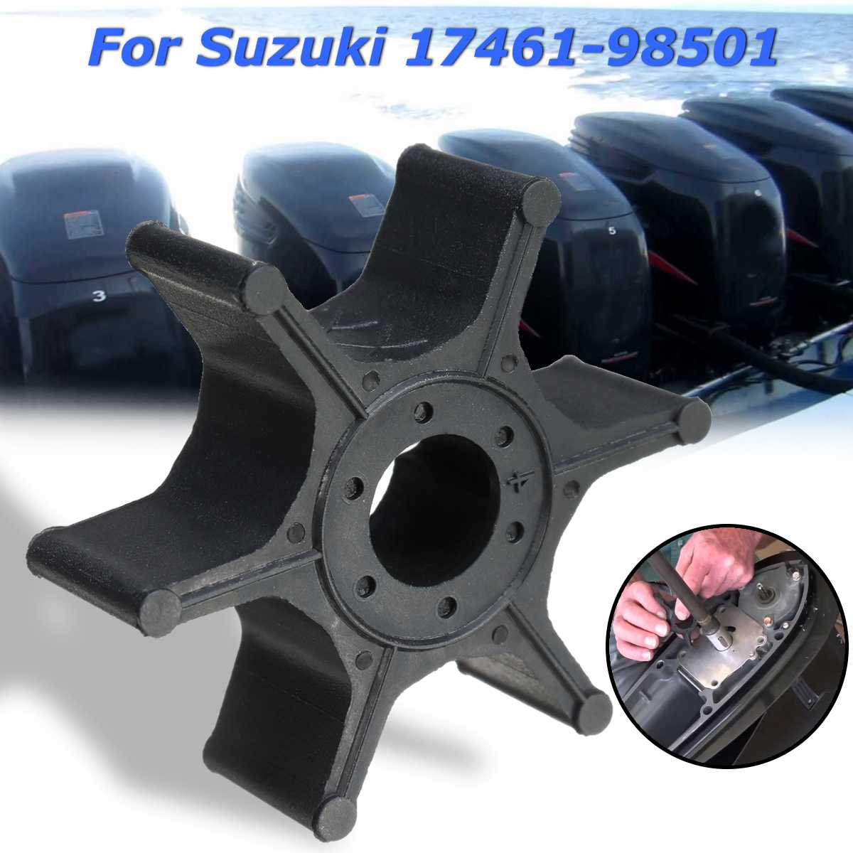 Outboard Engines Replacement 17461-98501 Water Pump Impeller For Suzuki 2-8HP Diameter 41mm Black Rubber 6 Blades Accessories