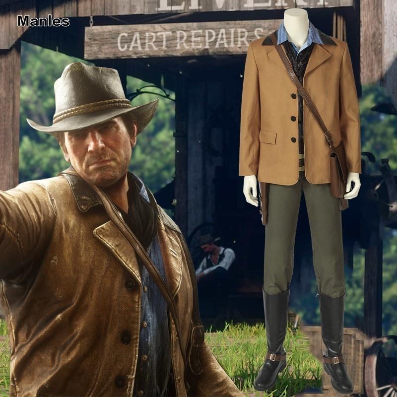 Красный Dead Redemption 2 Косплей Authur Morgan игра Американский западный костюм Хэллоуин Рождество взрослых мужчин Пользовательские униформа Карнава