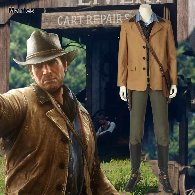 Red Dead Redemption 2 Cosplay Authur Morgan Game American Western Costume  Halloween Christmas Adult Men Custom Uniform Carnival