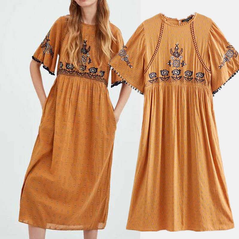 9ae9142dbe New Pattern Turmeric Color Embroidered Long Dress Embroidery MIDI Dress