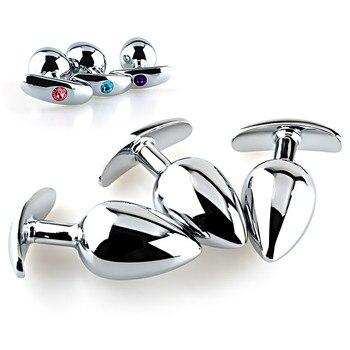 Tacto suave de aleación de aluminio de Metal Butt Plug con joyas de cristal Pequeño medio No enchufe anal vibrador artículos privados para hombres