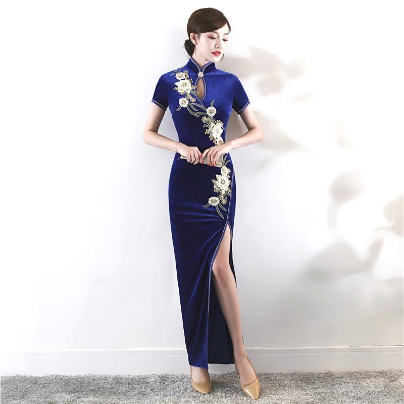 Chinese Velvet Cheongsam Qipao Elasticity Long Oriental Vintage Deep Blue Embroidery Flower Velour Dress Stretch Customized XXXL