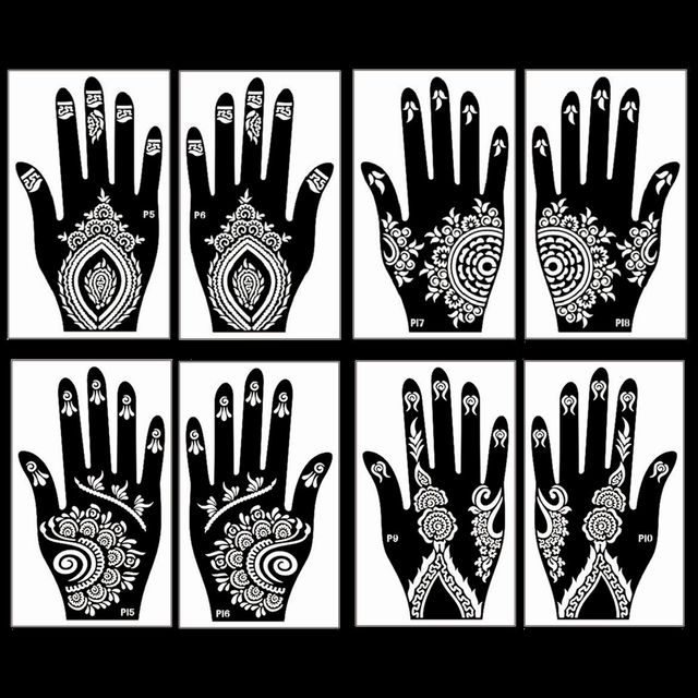 4 Sheet Self Adhesive Hand Art Henna Tattoo Temporary Stencil