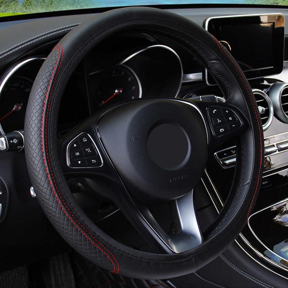 Anti-slip 36-39CM Car Steering Wheel Cover Embossing Leather Car Steering Wheel Cover Universal Interior Accessories Car-styling(China)