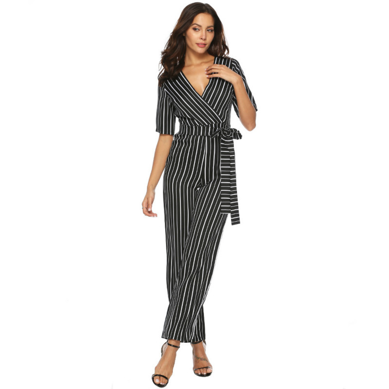 MUXU rompers womens body mujer Sexy Deep V Lead striped jumpsuit macacao feminino streetwear monos largos mujer pantalon largo in Jumpsuits from Women 39 s Clothing