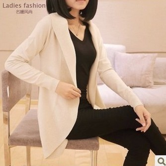 Women Long Sleeve Knitted Sweater Casual Solid Scarf Collar Cardigans Sweaters 4