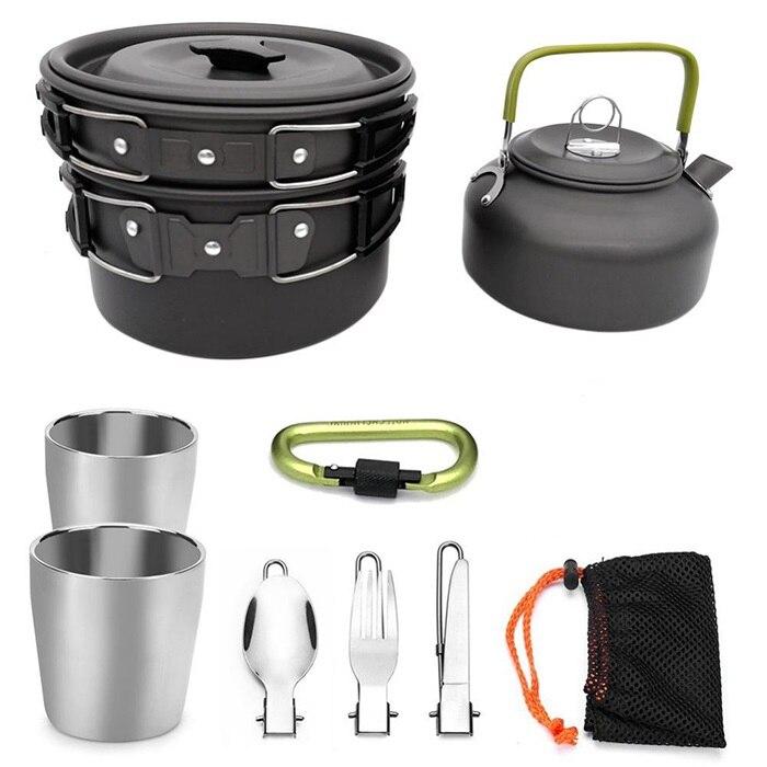 Ustensiles de cuisine de Camping bol Pot théière casserole vaisselle kooktoestel système de cuisson en plein air cuisinière extérieure avec mousqueton tasse à thé
