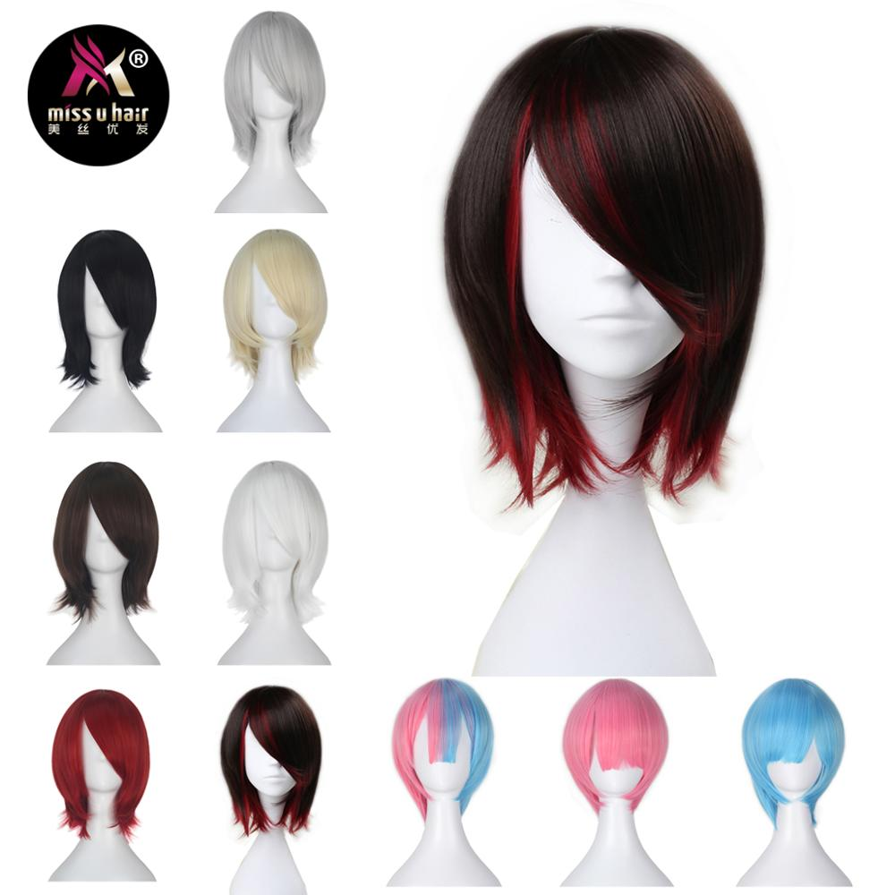Image 1 - Miss U Hair Synthetic Short Straight Black Brown and Red Purple Black White Blond Halloween role play Cosplay Costume Wigshair synthetichair hairwig wig -