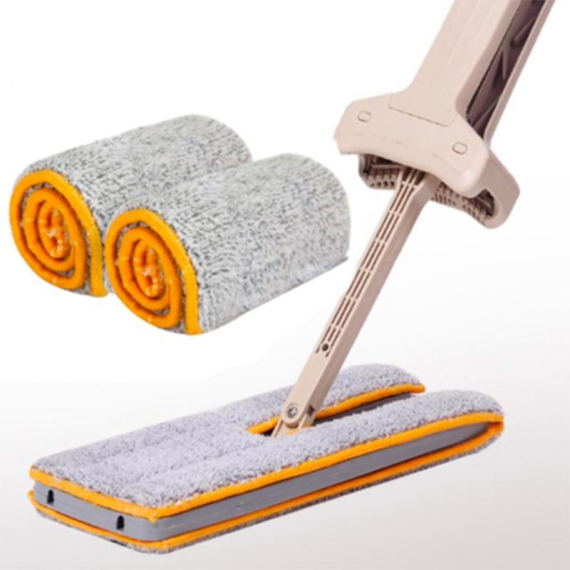 DOUBLE SIDED LAZY MOP WITH SELF-WRINGING ABILITY Non Hand Washing Flat Dust Mop