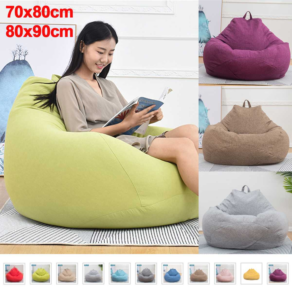 Lazy BeanBag Sofas Bean Bag Sofa Cover Chairs Pouf Puff Couch Cotton Linen Cloth Lounger Seat Tatami Living Room Furniture
