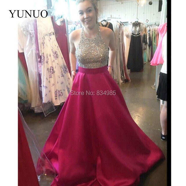 ad7d085e01 Sparking Formal Prom Dresses Halter Top Floor Length A Line Satin Woman  Dresses For Party with Pockets