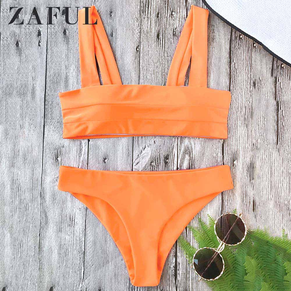 ZAFUL Wide Straps Padded Bandeau Bikini Two Pieces Set Padded Bra Low Elastic Waisted Women Summer Swim Suit Beach Sets 2019